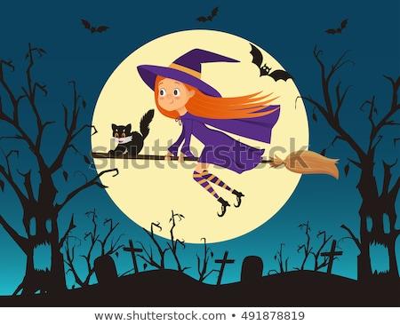 Хэллоуин · ведьмой · Flying · метлой - Сток-фото © elisanth