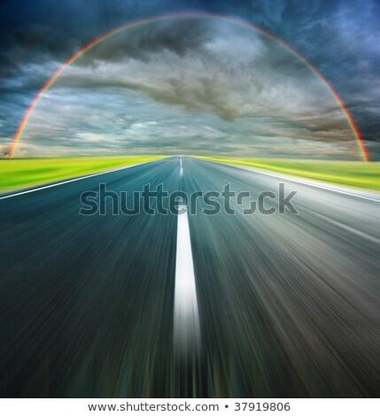asfalto · carretera · verde · campo · arco · iris · verano - foto stock © kirill_m