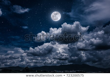 moon and stars in a cloudy night blue sky stock photo © karandaev