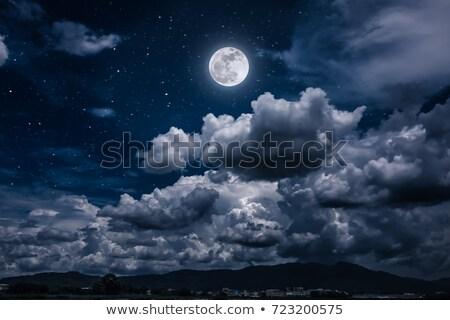 Foto d'archivio: Luna · stelle · nuvoloso · notte · cielo · blu · texture