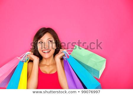 vásárlás · nő · gondolkodik · felfelé · néz · másolat · mosolyog - stock fotó © hasloo