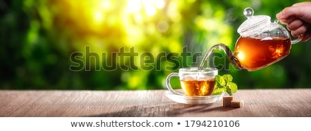 Glasses cup with black tea stock photo © boroda