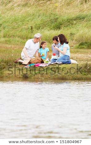 abuelo · nieto · picnic · sonriendo · feliz · nino - foto stock © monkey_business