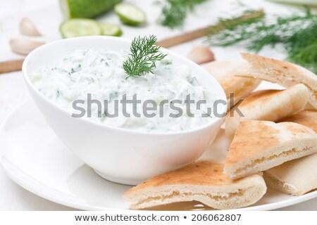 Grieks · yoghurt · pita · brood · vers - stockfoto © m-studio