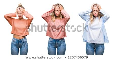 Gyönyörű fiatal nő szenvedés fejfájás ujjak befejezés Stock fotó © dash