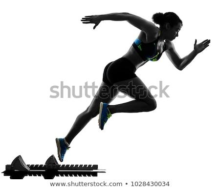 silhouettes of female sprinter Stock photo © bokica