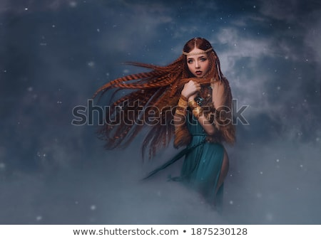 Beautiful brunette girl with fluttering hair. Angel model woman  Stock photo © Victoria_Andreas
