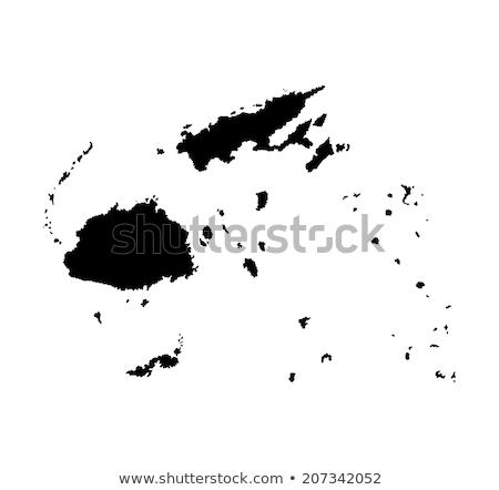 Sziluett térkép Fidzsi-szigetek felirat fehér felirat Stock fotó © mayboro