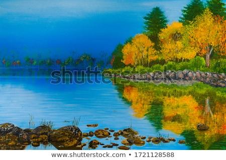 Groene landschap bomen weg wolken bloemen Stockfoto © WaD