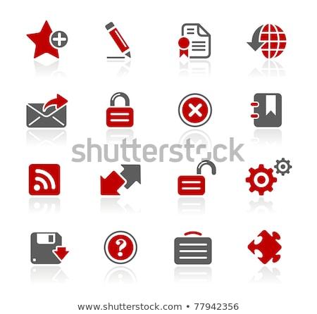 Certificado vermelho vetor ícone botão internet Foto stock © rizwanali3d