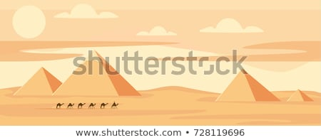 egypt great pyramids with camel caravan on sunset background stock photo © ray_of_light