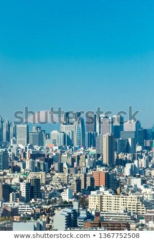 Tokió sziluett belváros városkép Japán város Stock fotó © vichie81