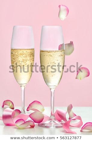 iki · gözlük · pembe · şampanya · çiçekler · parti - stok fotoğraf © karandaev