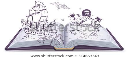 книжка-раскраска · пиратских · судно · воды · книга · древесины - Сток-фото © orensila