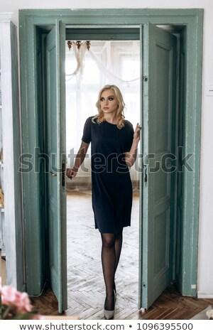 Bájos női modell fekete ruha teljes alakos portré Stock fotó © deandrobot