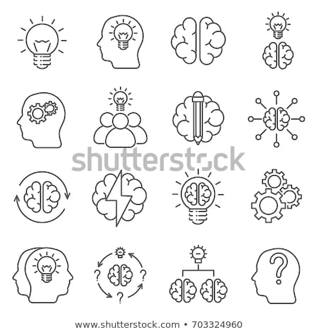 human head with idea icon drawn in chalk stock photo © rastudio