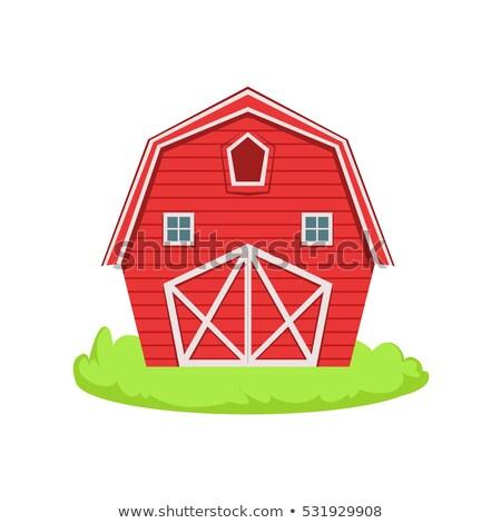 Vermelho brinquedo de madeira celeiro ilustração isolado branco Foto stock © Morphart