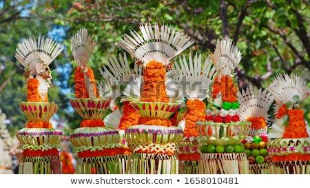 Bloem mand gebruikt hindoeïsme godsdienst weinig Stockfoto © tang90246