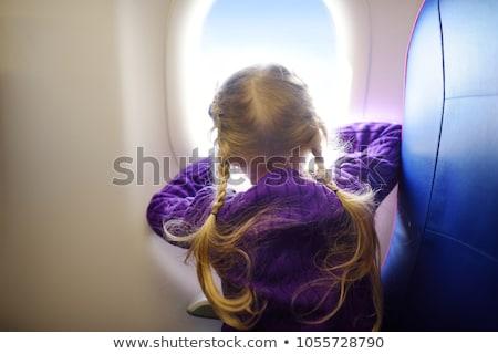 meisje · spelen · speelgoed · vliegtuig · kind · zonsondergang - stockfoto © alphaspirit