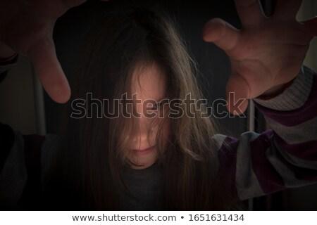 ハロウィン · 少女 · 怖い · 口 · 極端な · 女性 - ストックフォト © olira