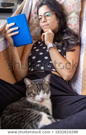 портрет брюнетка девушки кошки костюм Сток-фото © gigi_linquiet