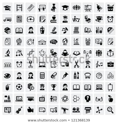 Preto educação um cem ícones Foto stock © Genestro