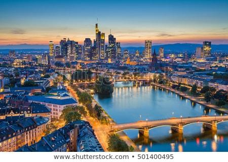 Antenne Frankfurt hoofd- laat namiddag Stockfoto © meinzahn