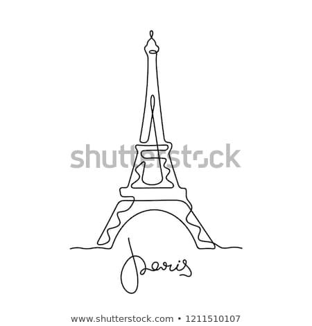Eyfel · Kulesi · hat · ikon · vektör · yalıtılmış · beyaz - stok fotoğraf © rastudio