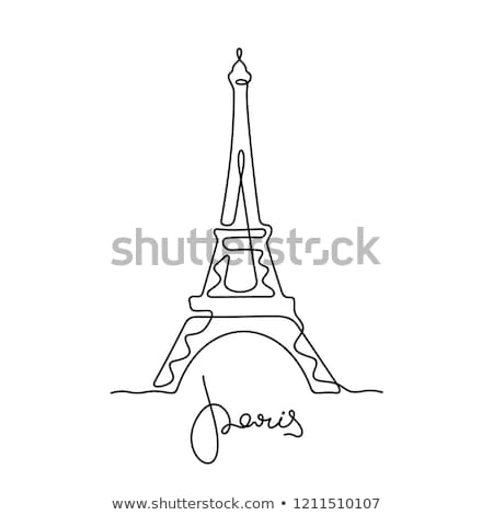 Torre · Eiffel · linha · ícone · vetor · isolado · branco - foto stock © rastudio