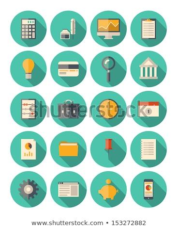 Folder icon , Flat design style, vector illustration. long shado Stock photo © jabkitticha