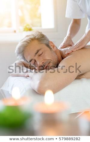 Homme Retour massage jeunes africaine spa Photo stock © AndreyPopov