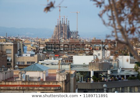Híres építészet família Barcelona Spanyolország család Stock fotó © artjazz