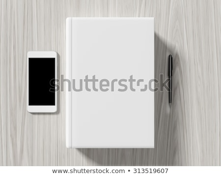 Stock photo: High angle view of a setting table of business workplace.