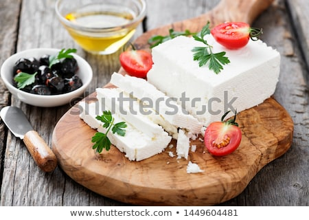 Fetasajt kockák tányér sajt fehér saláta Stock fotó © Digifoodstock