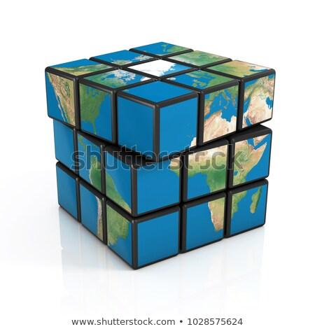 Foto d'archivio: Mappa · del · mondo · cubo · piazza · verde · internet · abstract