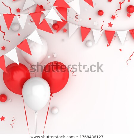 Happy birthday greetings background with balloons, buntings garlands and confetti on white Stock photo © Evgeny89