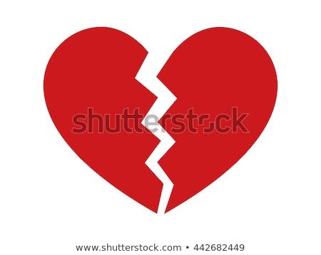 Ikon összetört szív piros papír fonál árnyék Stock fotó © kup1984