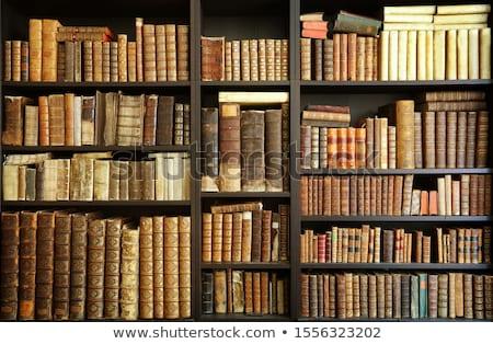 Historisch oude boeken bibliotheek houten boekenplank Stockfoto © fotoduki