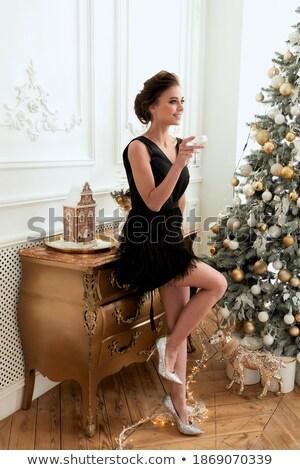 piękna · kobieta · sofa · szkła · wina · strony · strony - zdjęcia stock © ssuaphoto
