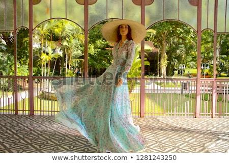 fiatal · nő · visel · tavasz · ruha · virágok · arc - stock fotó © zdenkam