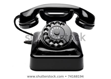 Fekete klasszikus telefon izolált fehér Stock fotó © milisavboskovic