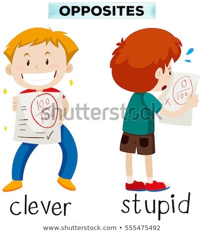 Contrario parole intelligente stupido illustrazione bambino Foto d'archivio © bluering