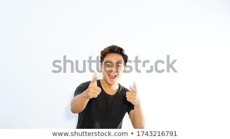 derűs · szakállas · férfi · mutat · kamera · izolált - stock fotó © deandrobot