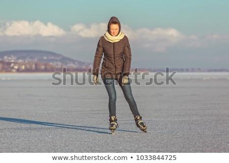 Young Girl Skating On Lake Balaton In Hungary Stock photo © Digoarpi