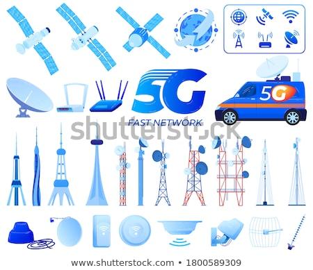 Stock photo: Satellite communications. Isolated on white