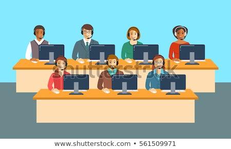 呼叫中心 團隊 辦公室 旗幟 向量 商業照片 © vectorikart