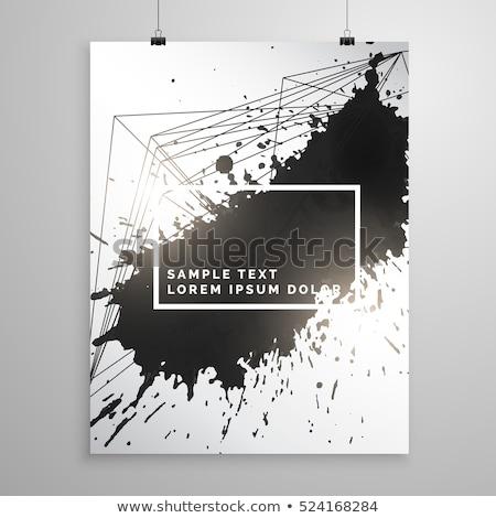 Soyut siyah mürekkep sıçramak poster broşür Stok fotoğraf © SArts