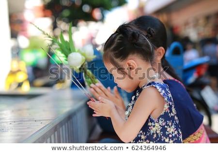 Buddhista gyermek imádkozik templom illusztráció vallás Stock fotó © adrenalina