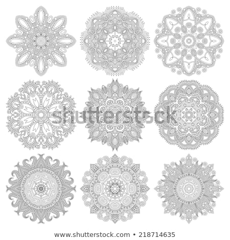 Circle lace ornament, round ornamental geometric pattern, black and white collection Stock photo © fotoscool