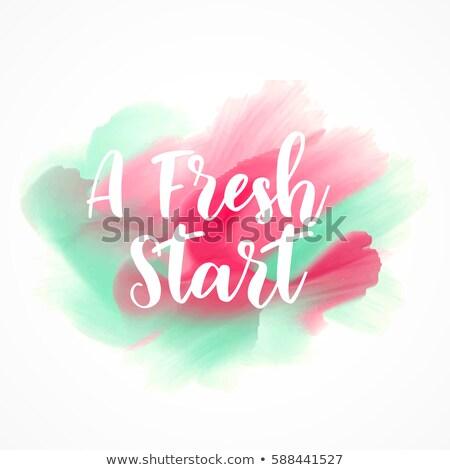 a fresh start custom lettering on watercolor splash background Stock photo © SArts